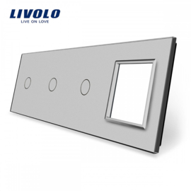 Livolo | Grey | Glass Panel  | Quintuple | 3 Gang + Frame