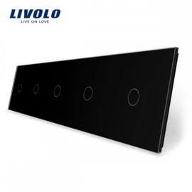 Livolo | Noir | Panneau De Verre | Quintuple | 1 Bouton