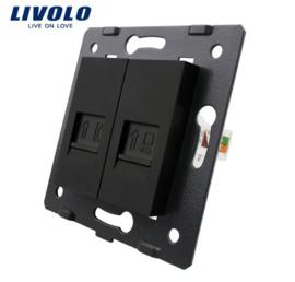 Livolo | Module | Frame | Telephone RJ11 & Network RJ45 | Black