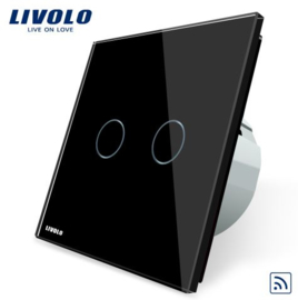 Livolo | Black | 2Gang 1Way | Wall Touch Switch | Remote