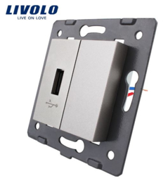 Livolo | Module | Frame | USB 2.1A & Cover  | Grey