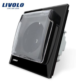 Livolo | Black | Wall power socket | Waterproof cover