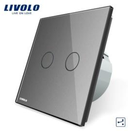 Livolo | Gris | 2 Boutons 2 Voies | Interrupteur Tactile Mural