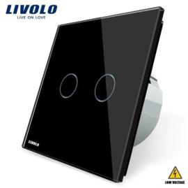 Livolo | Black | 2Gang 1Way | Low Voltage | 12-24V DC