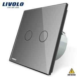 Livolo | Grey | 2Gang 1Way | Low Voltage | 12-24V DC