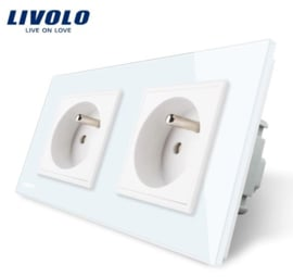 Livolo | White | French | Wall Power Socket | Double