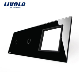 Livolo | Black | Glass Panel  | Triple | 1 Gang + 1 Gang + Frame