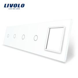Livolo | Blanc | Panneau De Verre | Quintuple | 4 Boutons + Cadre
