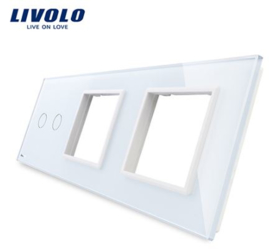 Livolo | White | Glass Panel  | Triple | 2 Gang + Frame + Frame