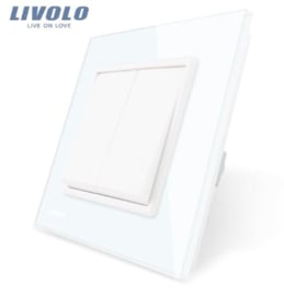Livolo | White | 2Gang 1Way | Wall Push Switch