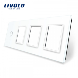 Livolo | White | Glass Panel  | Quintuple | 1 Gang + 3 Frame