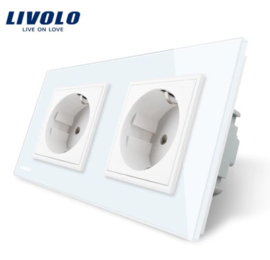 Livolo | White | Wall Power Socket | Double