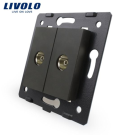Livolo | Module | Frame | TV Socket & TV Socket | Black
