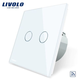 Livolo | White | 2Gang 1Way | Wall Touch Switch | Remote