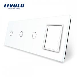 Livolo | White | Glass Panel  | Quintuple | 3 Gang + Frame