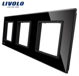 Livolo | Black | Glass Panel  | Triple | Frame