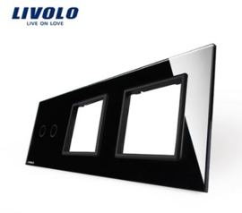 Livolo | Black | Glass Panel  | Triple | 2 Gang + Frame + Frame