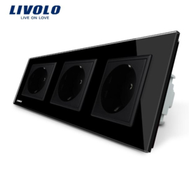 Livolo | Black | Wall Power Socket | Triple