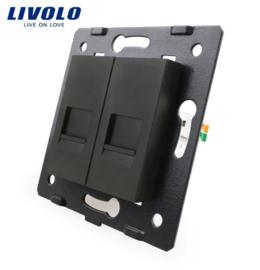 Livolo | Module | Frame | Telephone RJ11 & Telephone RJ11 | Black