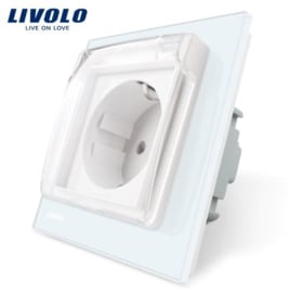 Livolo | White | Wall Power Socket | Waterproof cover
