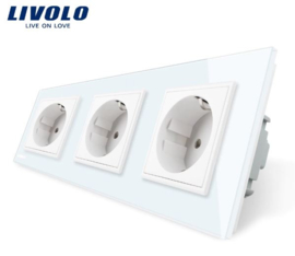 Livolo | White | Wall Power Socket | Triple
