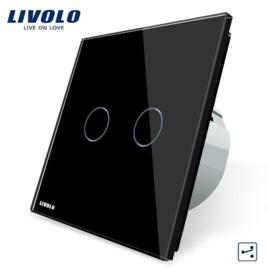 Livolo | Noir | 2 Boutons 2 Voies | Interrupteur Tactile Mural
