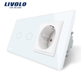 Livolo | White | 2Gang 1Way | Wall Touch Switch and EU socket