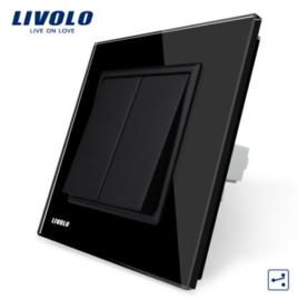 Livolo | Black | 2Gang 2Way | Wall Push Switch