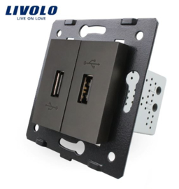 Livolo | Module | Frame | USB 2.1A & USB 2.1A  | Black