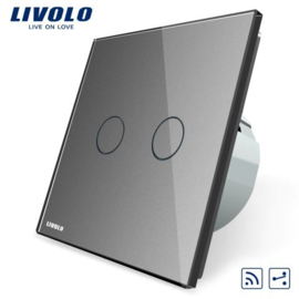 Livolo | Grey | 2Gang 2Way | Wall Touch Switch | Remote