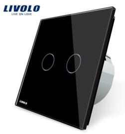Livolo | Noir | 2 Boutons 1 Voie | Interrupteur Tactile Mural