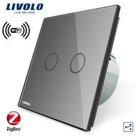 Livolo | Grey | 2Gang 2Way | Wall Touch Switch | Wifi/App