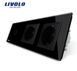 Livolo | Black | 1Gang 1Way | Wall Touch Switch and double EU socket