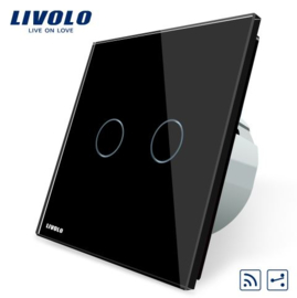 Livolo | Black | 2Gang 2Way | Wall Touch Switch | Remote