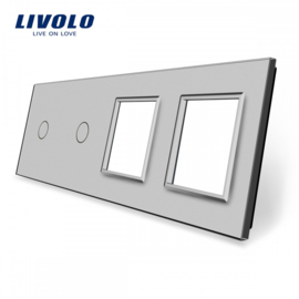 Livolo | Grey | Glass Panel  | Quintuple | 2 Gang + 2 Frame