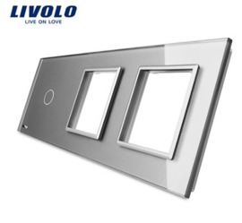 Livolo | Grey | Glass Panel  | Triple | 1 Gang + Frame + Frame