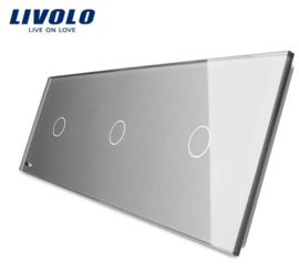 Livolo | Grey | Glass Panel  | Triple | 1 Gang