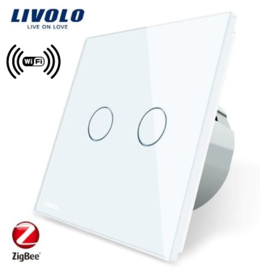 Livolo | White | 2Gang 1Way | Wall Touch Switch | Wifi/App