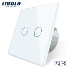 Livolo | White | 2Gang 2Way | Wall Touch Switch | Remote