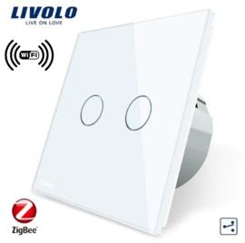 Livolo | White | 2Gang 2Way | Wall Touch Switch | Wifi/App