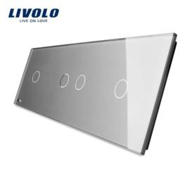 Livolo | Gris | Panneau De Verre | 1 + 2 + 1 Boutons
