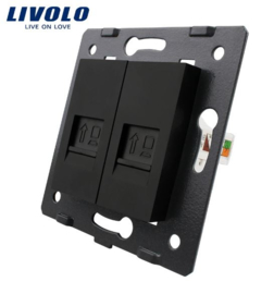 Livolo | Module | Frame | Network RJ45 & Network RJ45  | Black