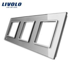 Livolo | Grey | Glass Panel  | Triple | Frame