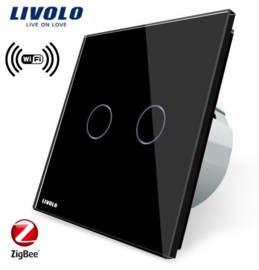 Livolo | Black | 2Gang 1Way | Wall Touch Switch | Wifi/App