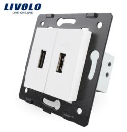Livolo | Module | Frame | USB 2.1A & USB 2.1A  | White