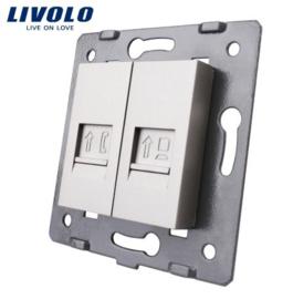 Livolo | Module | Frame | Telephone RJ11 & Network RJ45 | Grey