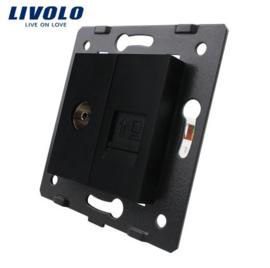Livolo | Module | Cadre | Prise TV & Réseau RJ45 | Noir