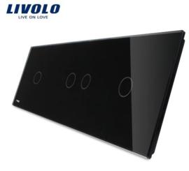Livolo | Noir | Panneau De Verre | 1 + 2 + 1 Boutons