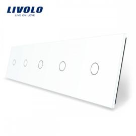 Livolo | Blanc | Panneau De Verre | Quintuple | 1 Bouton