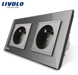 Livolo | Grey | French | Wall Power Socket | Double
